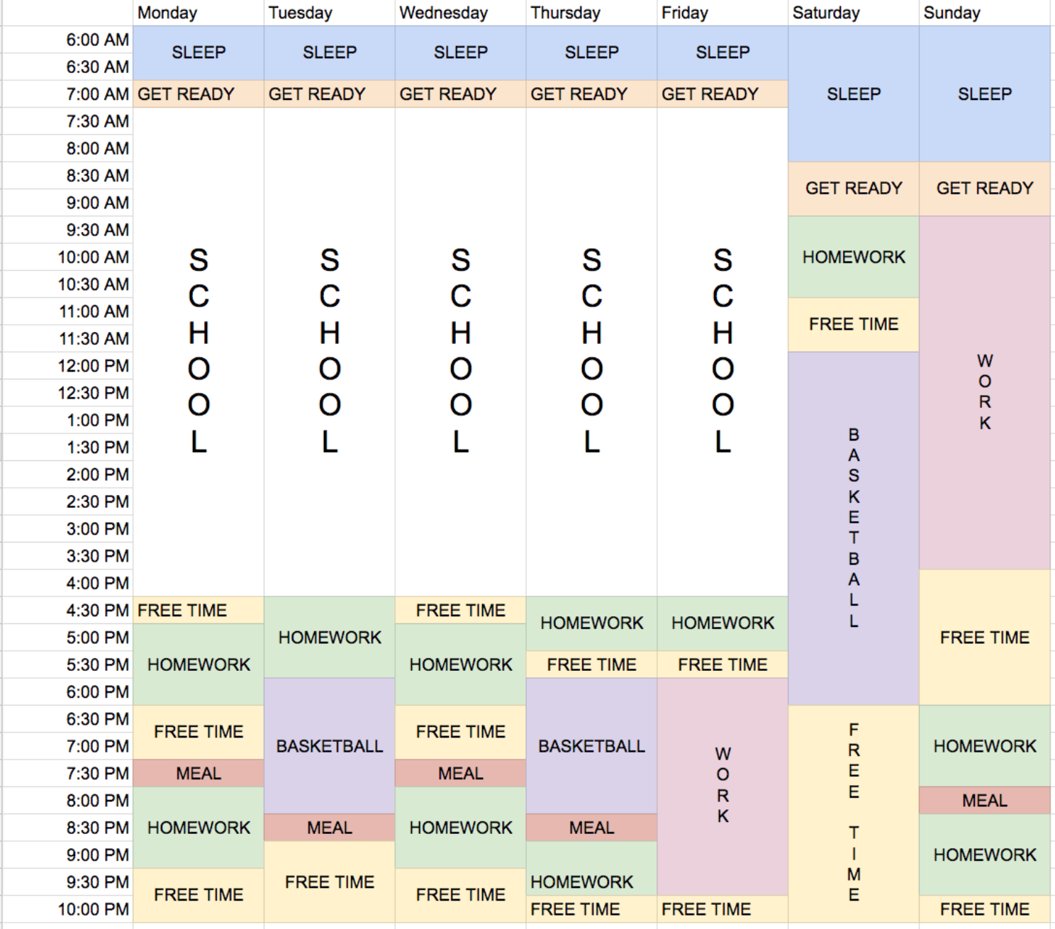 Switched On Education personalised study timetable